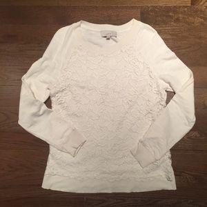 LOFT Lace Overlay Sweatshirt Top